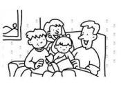 clip art family reading