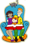 family reading in chair